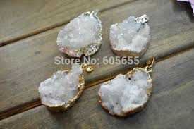 making stone necklace images White druzy geode oval shape rough stone necklace pendants fashion jpg