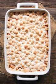 thanksgiving stat holiday sweet potato casserole with marshmallows domesticate me