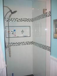 Bathroom Tiled Showers Ideas by 2 Bands Composed Of Small Squares Like The Niche Bathroom