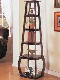 Corner Tables For Hallway Brown Finish Home Office Corner Shelf Bookcases