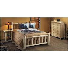 Log Cabin Furniture Bedroom Bed With Railing Headboard Rustic Natural Cedar