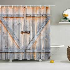 Shower Curtains Rustic 3d Vintage Rustic Barn Shed Farm Wood Door Shower Curtain Bathroom
