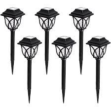 shop portfolio 6 light black 0 5 watt led path light kit at lowes