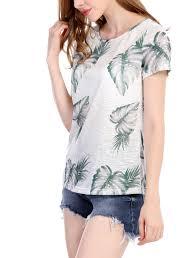 allegra k palm tree prints neck sleeves top