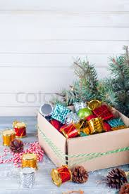 Decorate Cardboard Box Christmas Decorations In A Box Stock Photo Colourbox