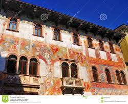 houses with frescoes trento italy stock photos image 30069303