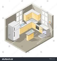 Interior Design Of Kitchen Vector Isometric Illustration Design Kitchen Dining Stock Vector