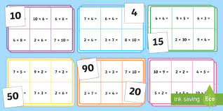 3 and 4 times table multiplication bingo 2 3 4 5 and 10 times table