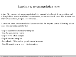 ceo cover letter exles hospital ceo recommendation letter