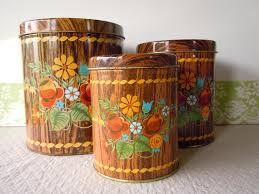 vintage kitchen canister set dutch woodland tin by recycledwares