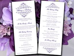 printable wedding programs free printable wedding program template lavender ceremony program