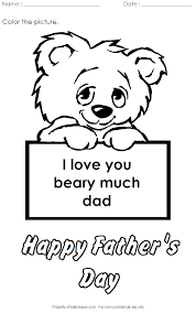i love you beary much coloring activity