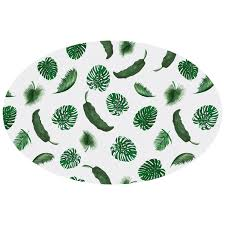 Fitted Oval Tablecloth Tropical Leaves White Linen Oval Tablecloth Huddleson Linens