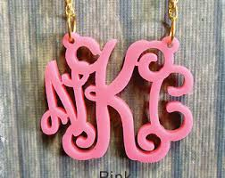 acrylic monogram necklace monogram jewelry etsy