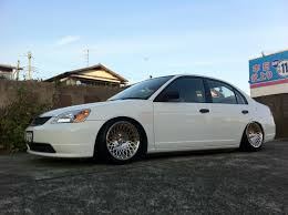 stanced mitsubishi lancer stance encore gold machined on honda civic wheels
