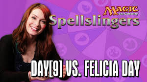 what is felicia day s hair color day 9 vs felicia day in magic the gathering spellslingers ep 5