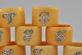 Monogram Plaques Set Of Boxed English Napkin Rings With Sterling Silver Monogram