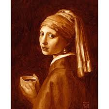 girl with pearl earring painting coffee creations paintings recreated with espresso by