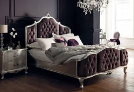 Diamante Bedroom Set Rococo Upholstered Bed In Silver Leaf With Diamante Buttons From