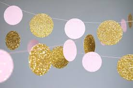 garland glitter paper garland gold and pink gold and blush
