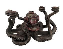 steampunk diver octopus 4 candle candelabra statue candelabra