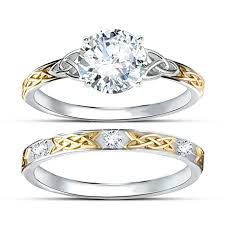gold wedding set centre 1ct simulated diamond wedding set two tone gold plated