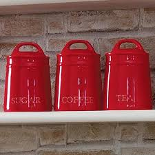 country red kitchen canister collection dunelm
