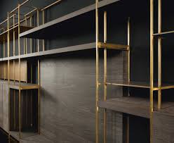 double depth bookshelf structure square brass pipe structure 1 5