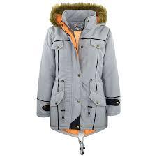 kids jacket designer u0027s silver parka coat faux fur hooded top