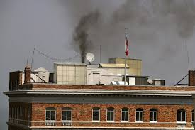 smoke pours from chimney at russian consulate after us orders its