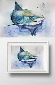 original home decor fall sale original watercolor painting great shark watercolor