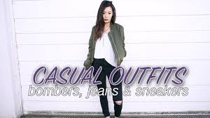 casual bombers jeans u0026 sneakers youtube