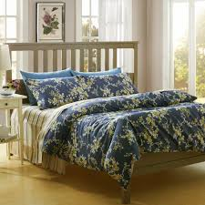 bedroom blue floral duvet covers queen with nightstand and white