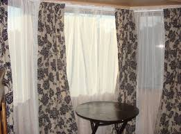 black and white striped blackout curtains bay window curtain ideas