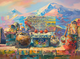 beautiful armenian stones with crosses and ornaments painting by