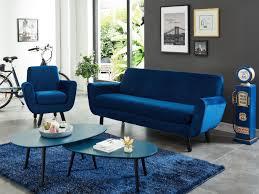 canapé velours bleu canapé 3 places ou fauteuil en velours bleu nuit traviata