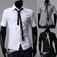 men u0027s fashion casual tie design slim fit short sleeve shirts us