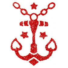 glitter red anchor tattoo tattoo sticker
