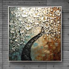 modern paint hand painted texture orchid oil paintings white flower knife