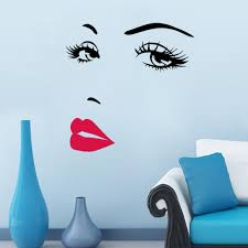 diy beautiful face eyes and lips wall art sticker 8469 painting flower and grass childrens wall stickers for bedrooms for the spring blue and yellow circle wall decals for summer
