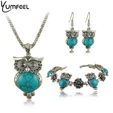silver earrings bracelet set images Yumfeel brand design owl jewelry set tibetan vintage silver jpg