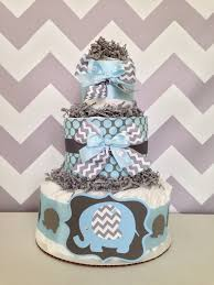 Blue And Gr by Chevron Elephant Diaper Cake Blue And Gray Baby Shower