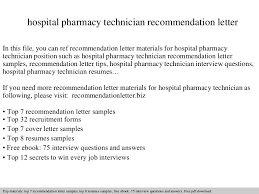 Reference Samples For Resume by Hospital Pharmacy Technician Recommendation Letter