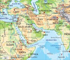Physical Map Of North America by This Is A Physical Map Of The Middle East It Shows Us The Main