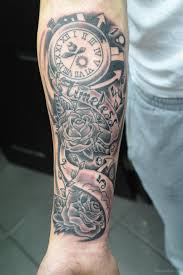 rose flower and clock tattoo on wrist tattoo designs tattoo