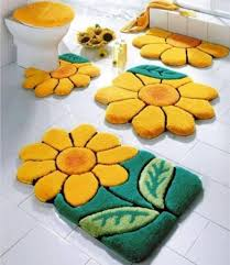 Unique Bathroom Rugs Sunflower Themed Bath Rug Sets In 4 Pieces Give Fabulous Textures