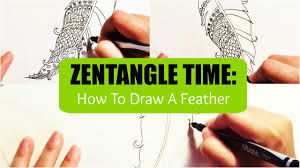 zentangle time how to draw a feather youtube