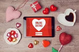 chocolates for s day online dating concept with digital tablet mock up and heart