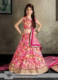 ornate pink raw silk lehenga choli for kids