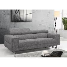canape droit tissu canapé droit design 3 places mario en tissu gris clair chiné